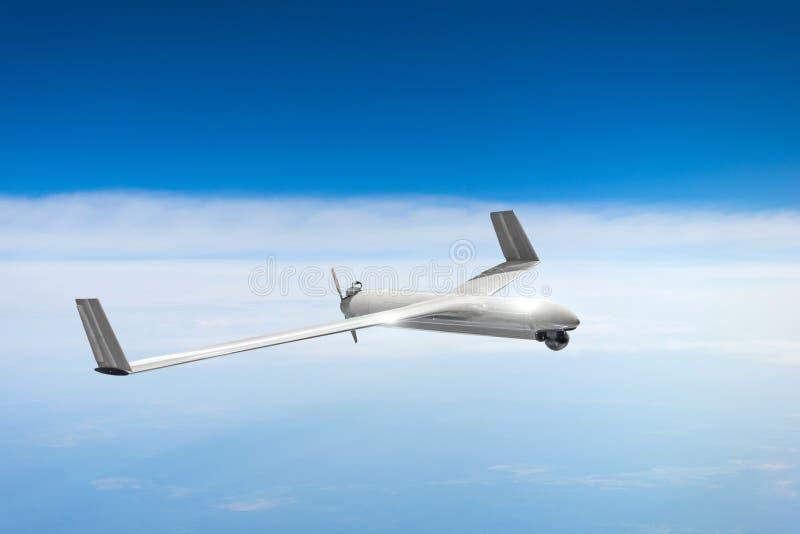 Bourdon militaire téléguidé sur le ciel d'air de patrouille à la haute altitude image libre de droits