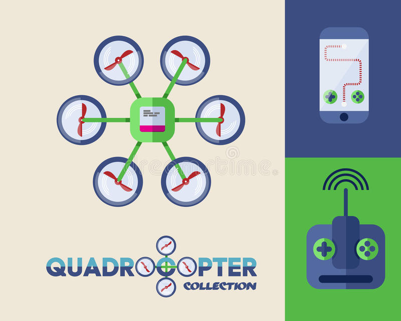 Bourdon ou quadrocopter illustration libre de droits