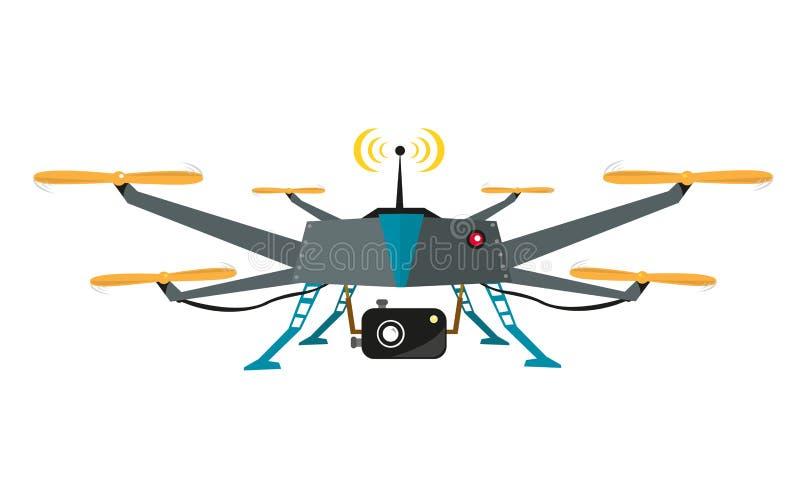 Bourdon télécommandé avec le vecteur d'appareil-photo Conception plate photographie stock libre de droits