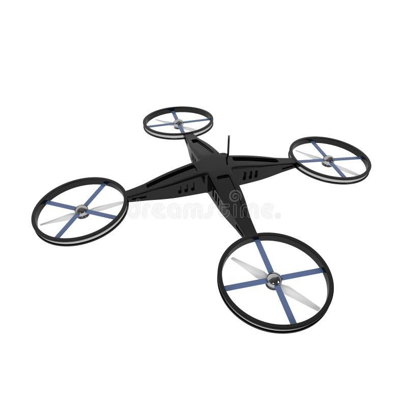 Bourdon télécommandé de Quadcopter d'isolement sur le blanc illustration de vecteur