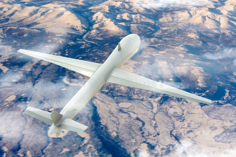 Bourdon volant au-dessus du paysage gelé illustration libre de droits