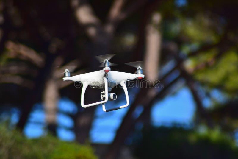 Bourdon volant avec une caméra vidéo sur un fond de ciel bleu photographie stock libre de droits
