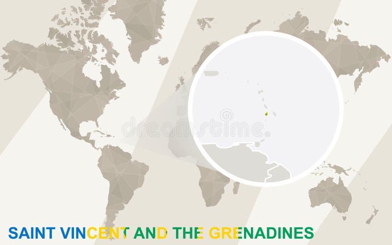 Bourdonnement sur la carte et le drapeau de Saint-Vincent-et-les-Grenadines Carte du monde illustration libre de droits
