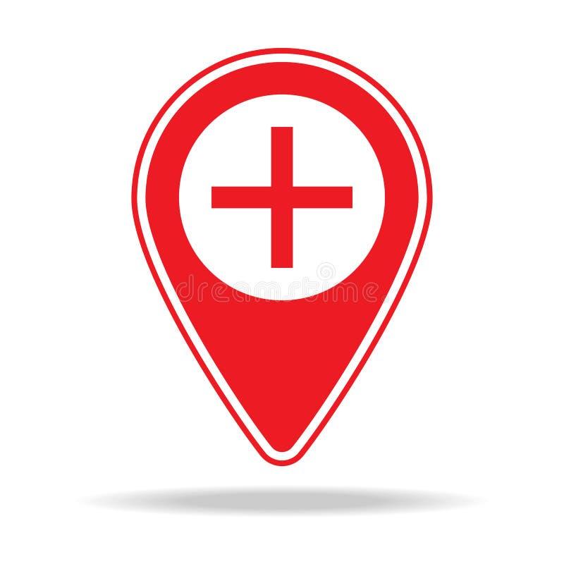bourdonnent dedans l'icône de goupille de carte Élément d'icône d'avertissement de goupille de navigation pour les apps mobiles d illustration libre de droits
