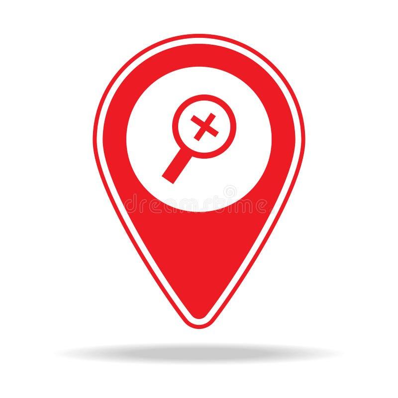 bourdonnent dedans l'icône de goupille de carte d'alt Élément d'icône d'avertissement de goupille de navigation pour les apps mob illustration stock
