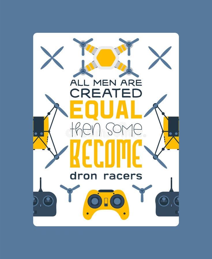 Bourdons d'air, affiche de quadrocopters et illustration aérienne de vecteur de robot de vol sans fil à télécommande de bourdons  illustration de vecteur