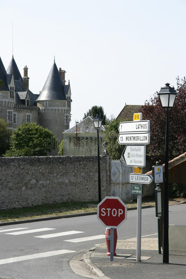 Bourg-Archambault Road signs and Chateaux. French direction signs royalty free stock photography