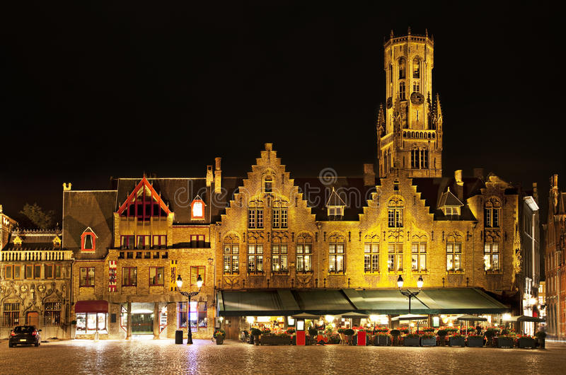 Bourg square at night, Bruges. Belgium. Night view of Bourg square with Belfort tower, Bruges. Belgium stock photography