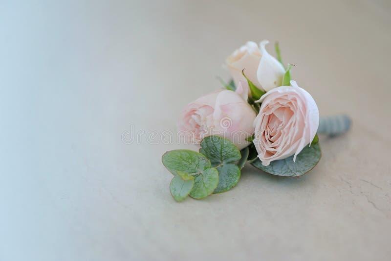 Bourgeon de Rose dans le boutonniere tenderless, plan rapproché photo stock