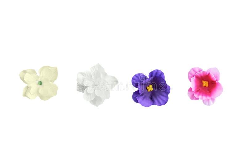 Bourgeons des fleurs artificielles isolat blanc photo stock