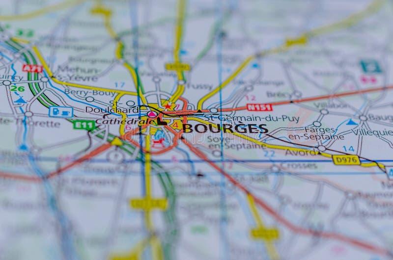Bourges op kaart stock afbeelding