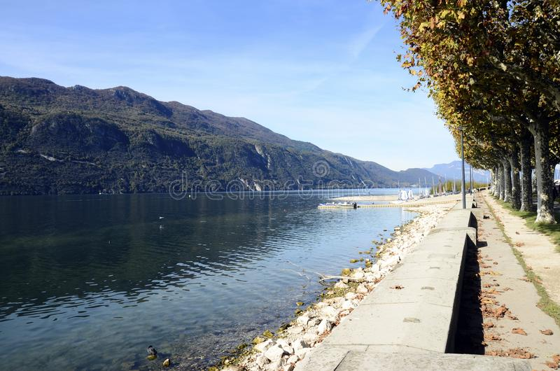 Bourget lake and mountains. From Aix-les-Bains walkpat, Savoy stock photography