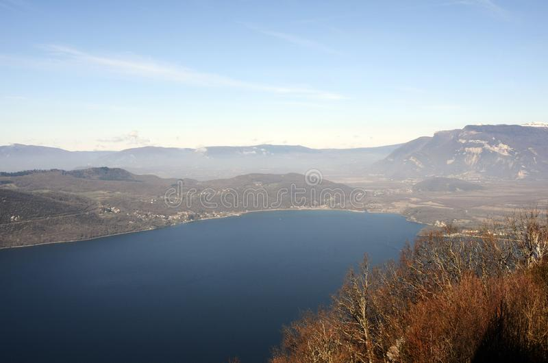 Bourget lake and mountains. Large view of north Bourget lake and mountains from Chambotte, Savoy stock image