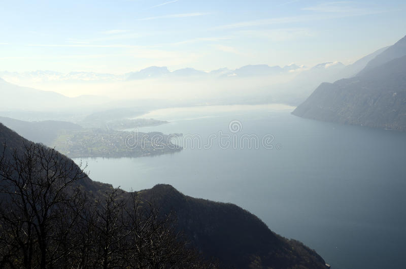 Bourget lake and mountains. Large view of north Bourget lake and mountains from Chambotte, Savoy stock photography