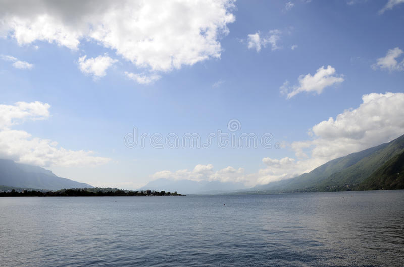 Bourget lake and mountains. Large view of north Bourget lake and mountains from Chambotte, Savoy stock photo