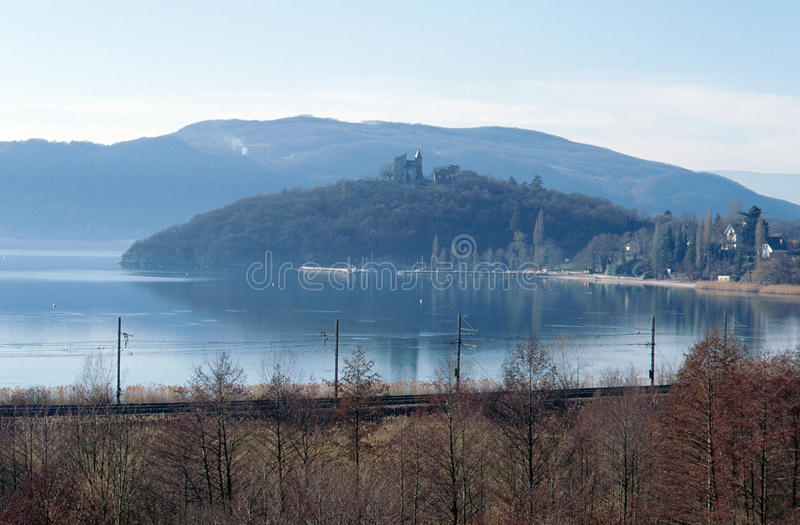 Bourget lake and mountains. Large view of north Bourget lake and mountains , Savoy stock image