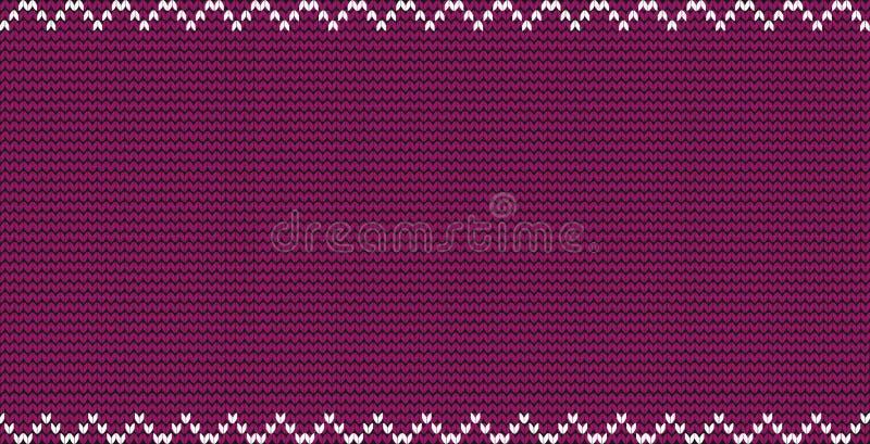 Bourgogne a tricoté le fond de tissu avec le cadre de frontière de zigzag et l'espace vide de copie pour le texte illustration stock