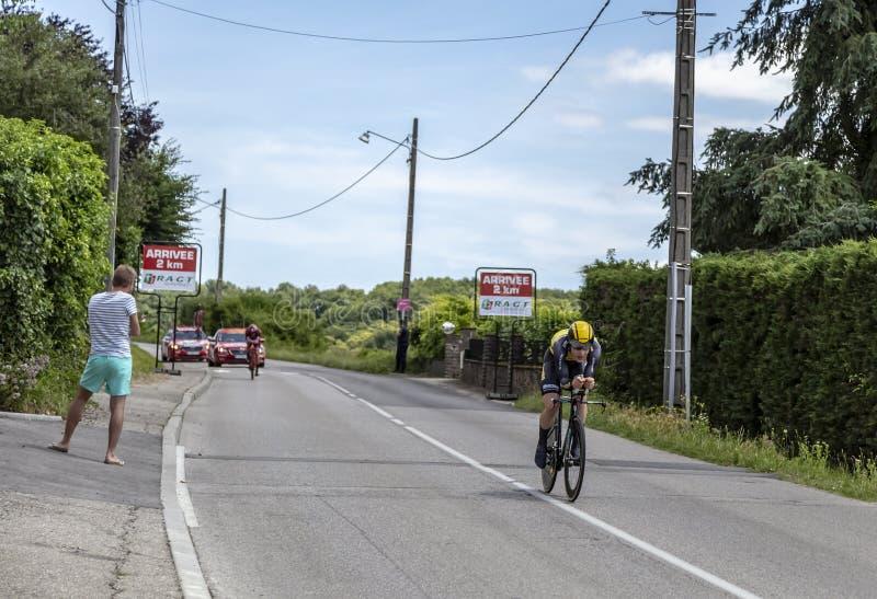 The Cyclist Gijs van Hoecke - Criterium du Dauphine 2017 royalty free stock photos