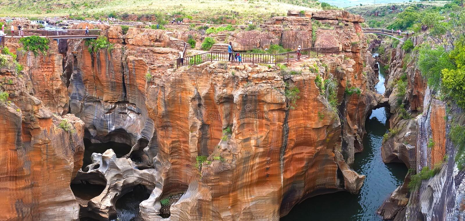 Bourke`s Luck Potholes in South Africa - Raging waters have created a strange geological site. This natural water feature marks the beginning of the Blyde royalty free stock image