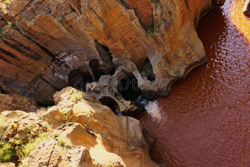 Bourkes-Glück-Schlaglöcher an der Blyde-Fluss-Schlucht Mpumalanga Südafrika lizenzfreie stockfotografie