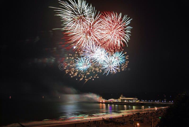 Bournemouth pirfyrverkerier royaltyfri foto