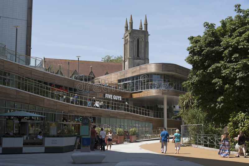 Bournemouth shopping district England UK. BH2 upper level dining and shopping complex in Bournemouth southern England UK. June 2017 royalty free stock photos