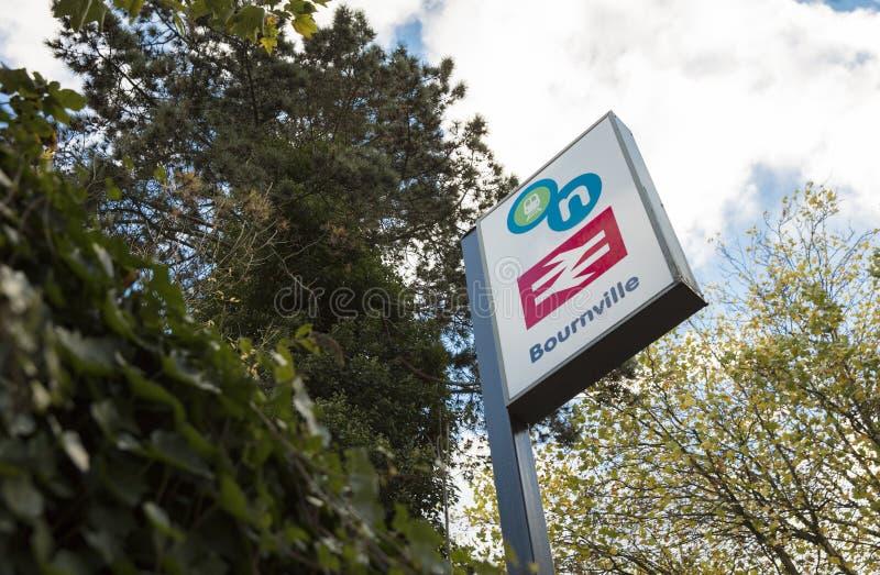 Bournville Railway Station, Birmingham, UK, October 2018, Network Rail sign royalty free stock image