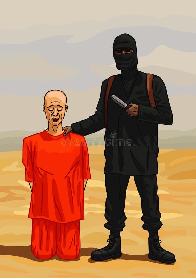 Bourreau de terroriste et sa victime illustration stock