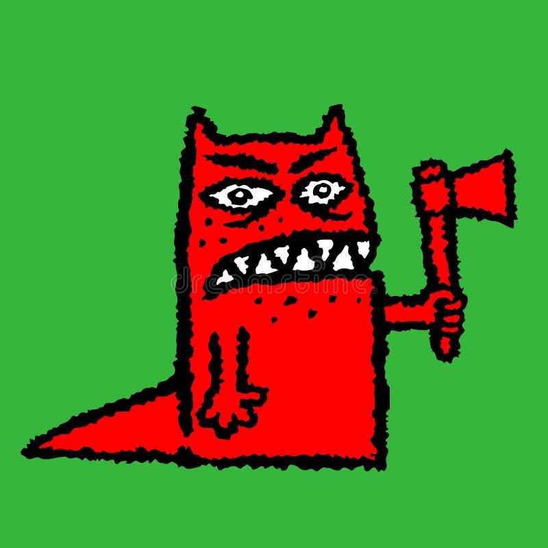 Bourreau rouge avec la hache Illustration de vecteur illustration de vecteur