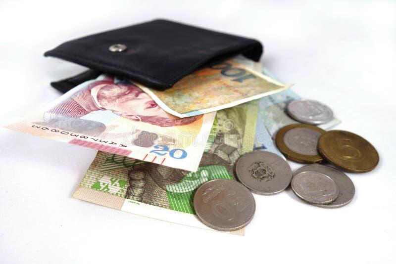 Bourse avec des cartes de crédit de billet de banque et photographie stock