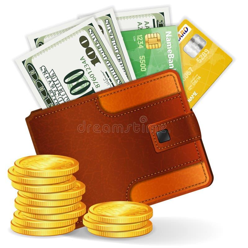 Bourse avec des dollars, des cartes de crédit et des pièces de monnaie illustration stock
