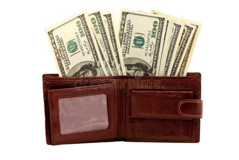 Bourse en cuir complètement d'argent photographie stock libre de droits
