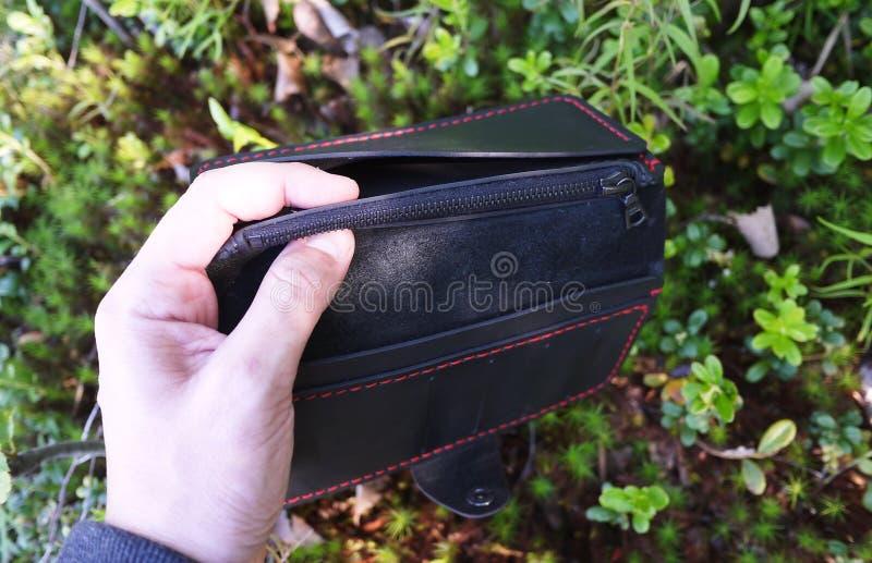 Bourse en cuir noire D?tails et plan rapproch? images stock