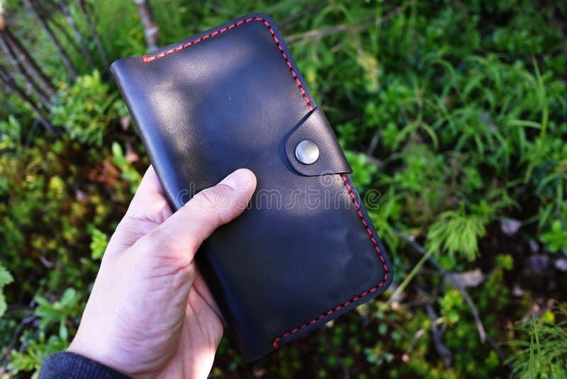 Bourse en cuir noire D?tails et plan rapproch? photographie stock