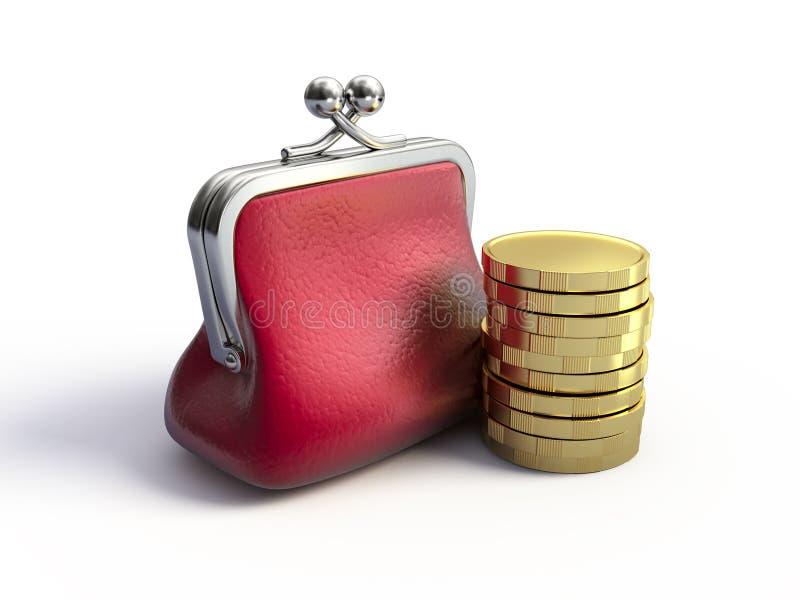 Bourse et pièces de monnaie illustration de vecteur