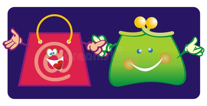 Bourse et sac à provisions illustration de vecteur