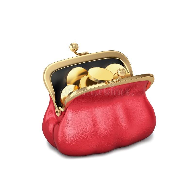 Bourse rouge ouverte avec des pièces d'or illustration de vecteur