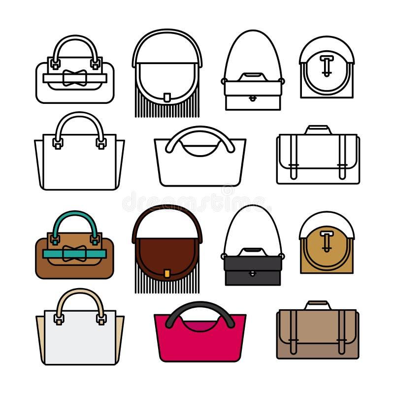 Bourses et conception plate de vecteur de sacs Icônes de sacs de ligne et de couleur illustration de vecteur