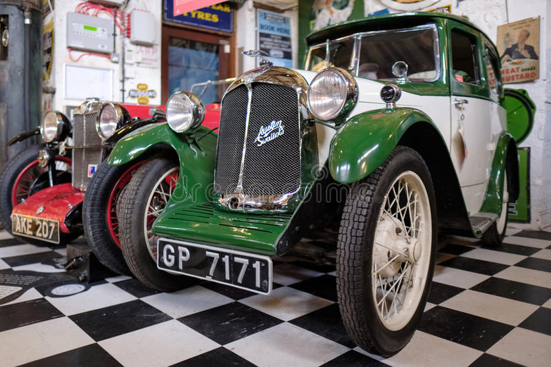BOURTON-ON-THE-WATER, GLOUCESTERSHIRE/UK - MARCH 24 : Austin Swallow in the Motor Museum at Bourton-on-the-Water in royalty free stock images