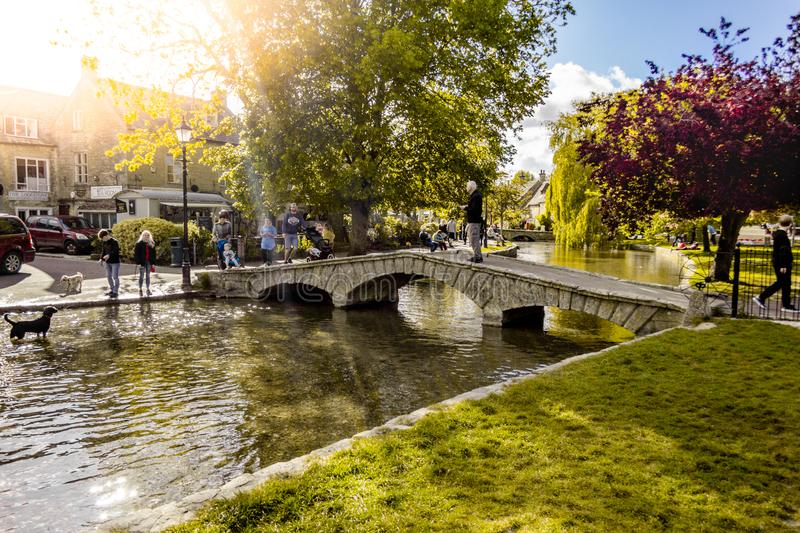 Bourton-on-the-Water sunset scenery royalty free stock images