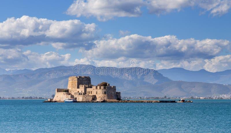 Bourtzi城堡, Nafplio,希腊 库存图片