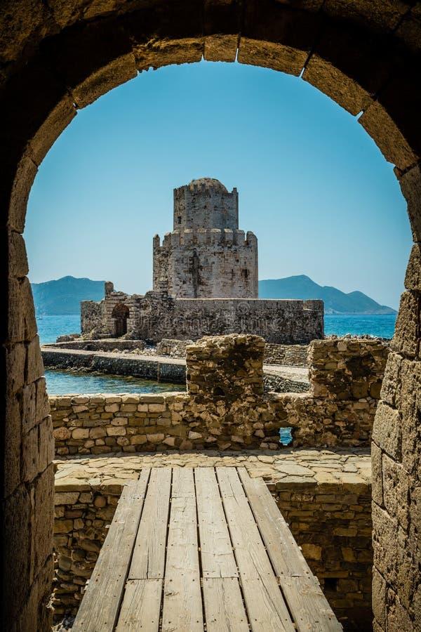 The Bourtzi tower, Methoni, Peloponnese, Greece. The Methoni Venetian Fortress in the Peloponnese, Messenia, Greece stock photo