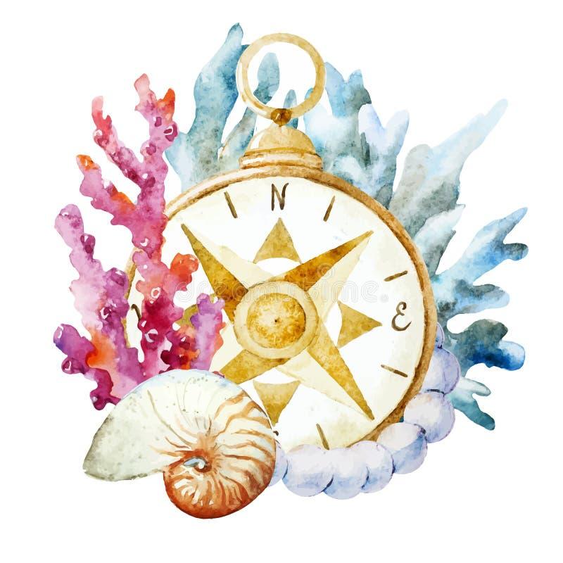 Boussole avec des coraux illustration de vecteur
