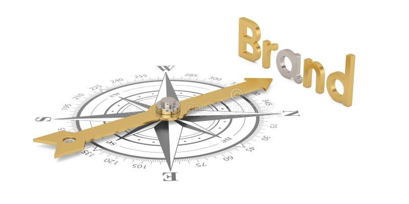 Boussole avec la marque d'or d'isolement sur l'illustra blanc du fond 3D illustration libre de droits