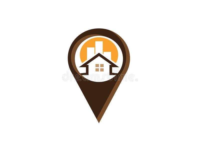Boussole avec le panneau de dard d'indicateurs dans un symbole de goupille pour l'illustration de conception de logo, le symbole  illustration stock