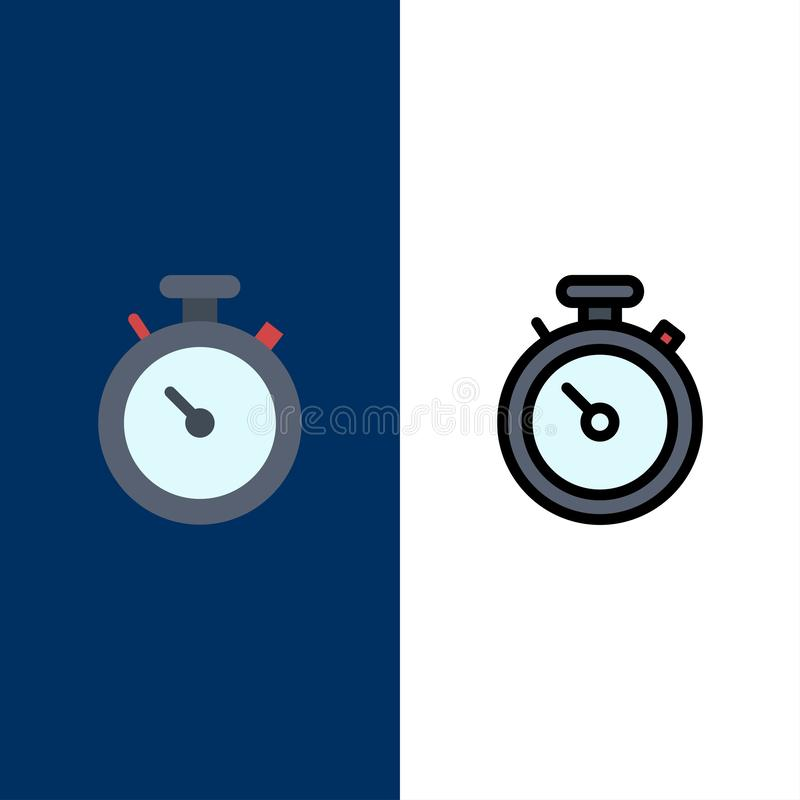 Boussole, carte, navigation, Pin Icons L'appartement et la ligne icône remplie ont placé le fond bleu de vecteur illustration de vecteur