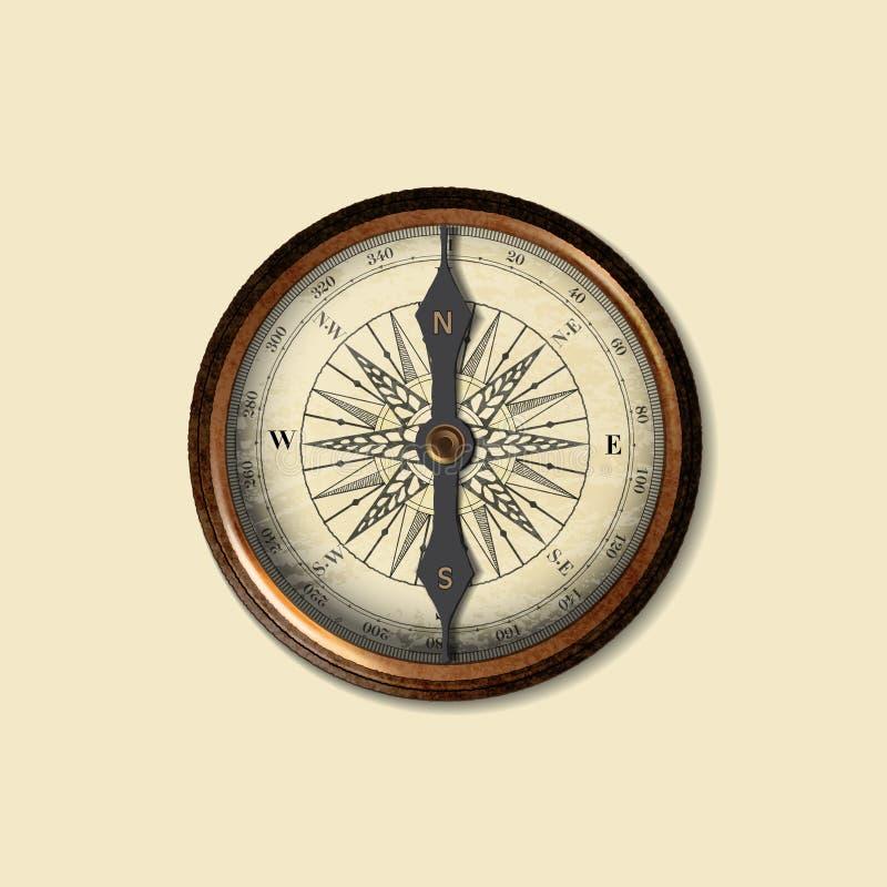 Boussole, d'isolement, affaires, fond, concepts, signe, idées, simples, forme, symbole, nord, est, exploration, image, arro illustration de vecteur