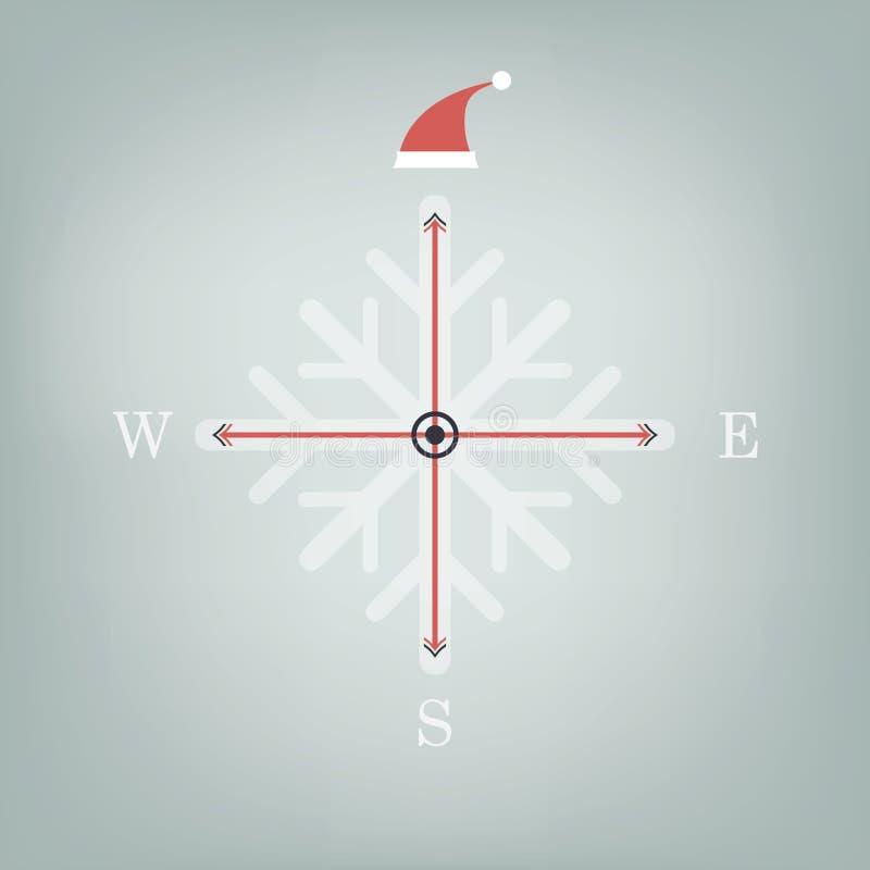 Boussole de Noël avec le chapeau du père noël sur le nord illustration de vecteur