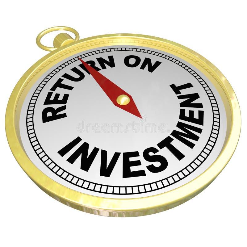 Boussole de retour sur l'investissement indiquant ROI Money Choices illustration de vecteur
