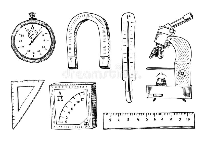 Boussole et aimant, alpelmet avec le thermomètre et microscope gravé tiré par la main dans de vieux symboles de croquis et de vin illustration stock
